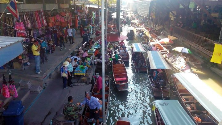 Thailand floating market: long tail boats