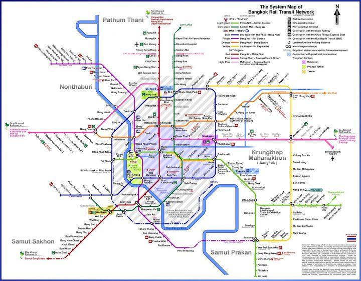 Mappa Treni Skytrain MRT di Bangkok