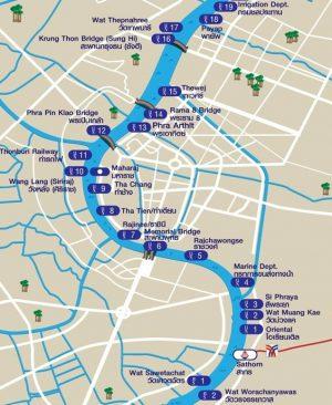 mappa fermate chao phraya express boat