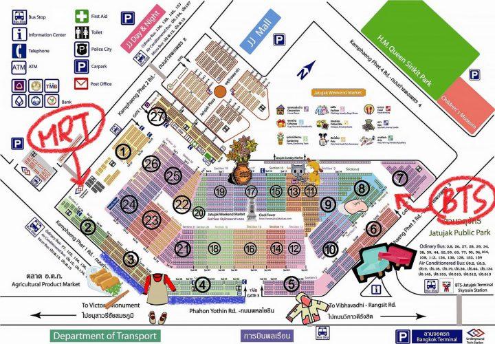 Mappa del mercato di Chatuchak